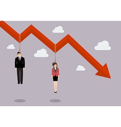 Business people hang on a graph down vector image vector image