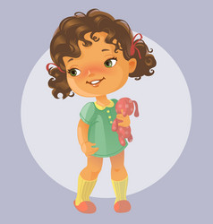 Cute little girl with toy vector image