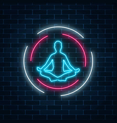 Neon glowing sign of yoga exercices club with vector