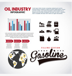 oil industry infographic filling station gasoline vector image