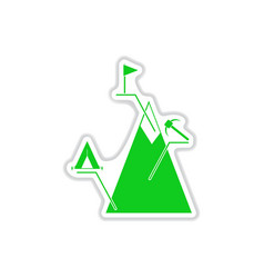 Paper sticker on white background mountain vector