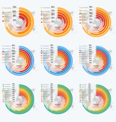 set of circle informative infographics vector image