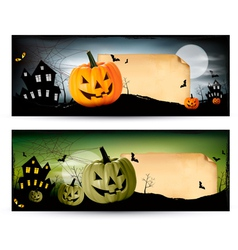 Two Halloween banners vector image vector image