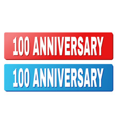 100 anniversary title on blue and red rectangle vector image