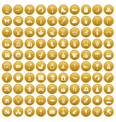 100 happy childhood icons set gold vector