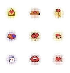14 February icons set pop-art style vector image