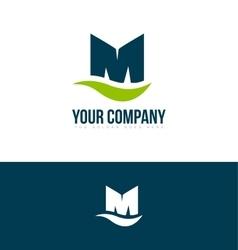 Alphabet letter M green blue logo vector image