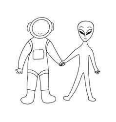 Astronaut and alien friendship civilizations vector