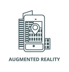 augmented realitycity in smartphone line icon vector image