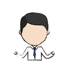 Avatar businessman line cartoon with formal vector