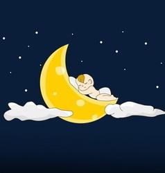 Baby sleeps on a moon vector image
