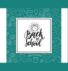 back to school poster with alarm clock drawing vector image