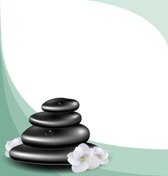Background with spa stones and white flower vector