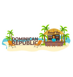Beach bar dominican republic travel palm drink vector