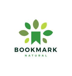 bookmark natural leaf tree logo icon vector image