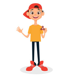 boy in cap holding spinner vector image