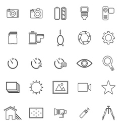 Camera line icons on white background vector image
