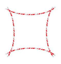 Candy cane frame border christmas design isolated vector