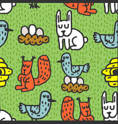childrens drawing forest animals seamless pattern vector image