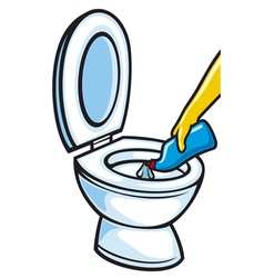 Cleaning toilet bowl using plastic bottle vector