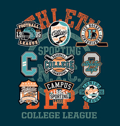 college athletic department sporting team badges vector image