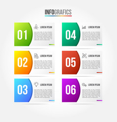 colorful infographic template with 3d paper label vector image