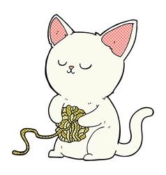Comic cartoon cat playing with ball of yarn vector