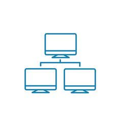 corporate network linear icon concept corporate vector image