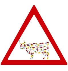 Cow antibiotics forbidden sign vector