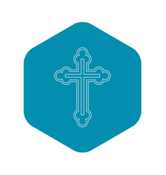 crucifix icon in outline style vector image