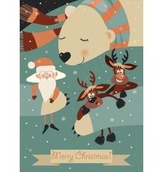 Cute polar bear hugging Santa Claus and reindeers vector