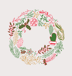 different colored foliated wreath doodle vector image
