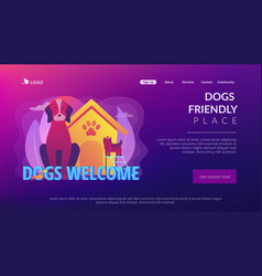 dogs friendly place concept landing page vector image