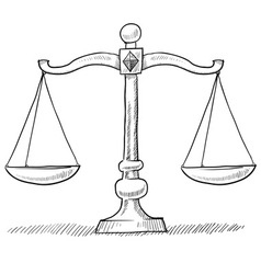 doodle scales justice vector image