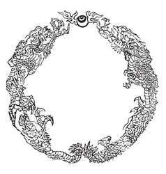 Dragons is a circular pattern vintage engraving vector