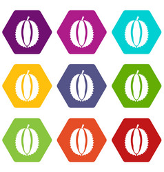 durian icon set color hexahedron vector image