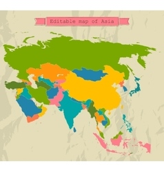 Editable Asia map with all countries vector