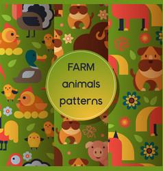 farm animals seamless pattern domestic vector image