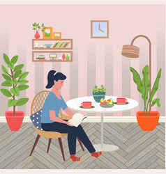 female using laptop at home girl in room vector image