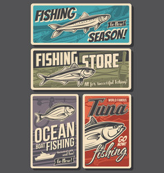 fishing retro banners vintage cards set vector image