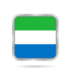 flag of sierra leone metallic gray square button vector image