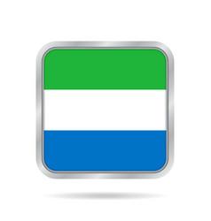 Flag of sierra leone metallic gray square button vector
