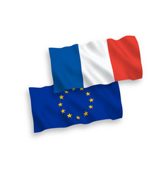 Flags of france and european union on a white vector