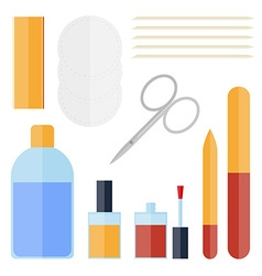 Flat set of manicure equipment vector image