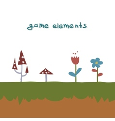 Flowers and mushrooms game element vector image