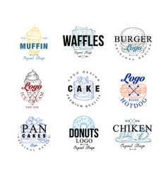 food logo design set muffin waffles burger vector image