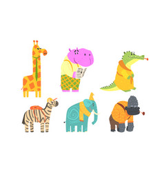 funny african animals cartoon characters set vector image