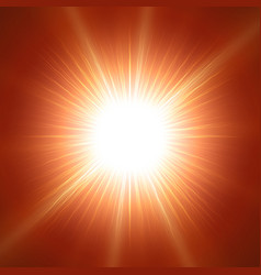 glaring sun with lens over red vector image
