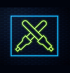 Glowing neon line marshalling wands vector