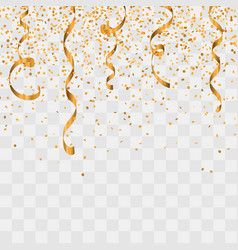 gold glitter confetti and serpentine background vector image